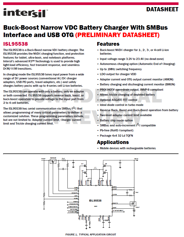 Intersil推出SMBus和OTG功能的升降压方案ISL95538-充电头网