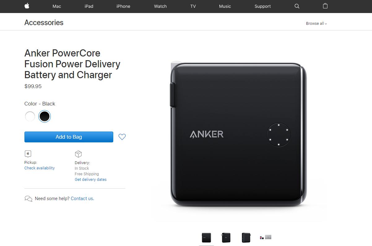 ANKER PowerCore Fusion PD上架苹果官方商城,内置氮化镓