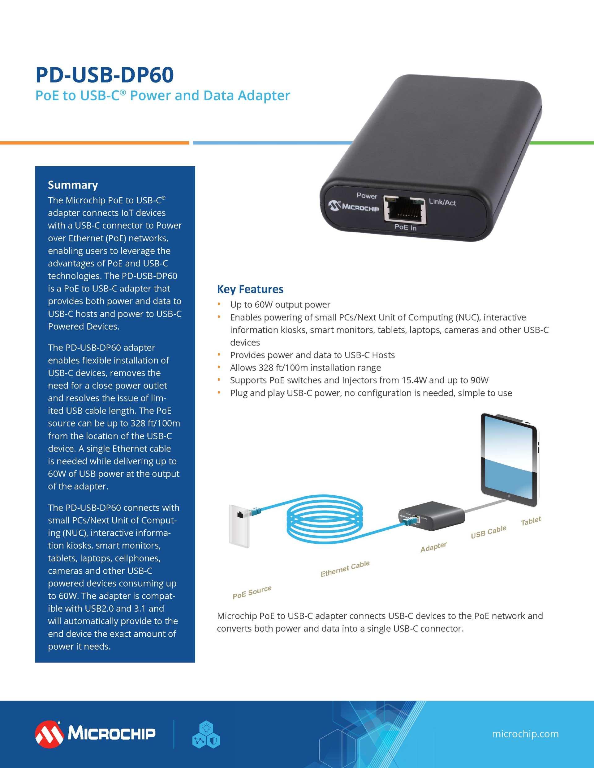 Microchip推出PoE转USB-C适配器-充电头网